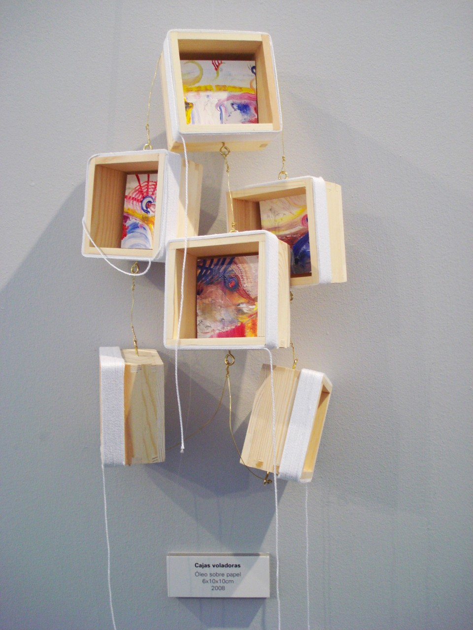 2008Flying boxes.Oil on paper inside boxes.